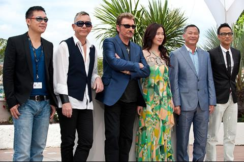 """(L-R) Actor Siu-Fai Cheung, actor Anthony Wong, actor Johnny Hallyday, actress Michelle Ye, director Johnnie To and actor Simon Yam at the photo call of """"Vengeance"""" at the 62nd Cannes Film Festival in Cannes"""